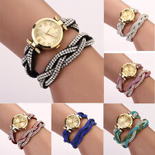 Fashion Women Crystal Bracelet Watch Dial Quartz Analog Wrap WristWatch Charm