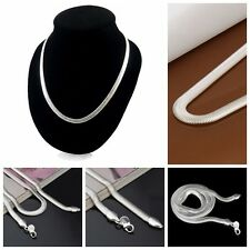 New Women 925 Sterling Silver Plated 6MM Snake Pendant Necklace Chain Jewelry