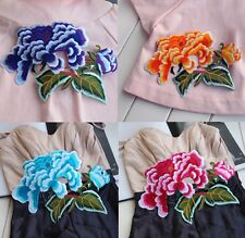 Embroidered Color Flower iron/sew Appliques Craft Scrapbook Diy Patch 20cmX18cm
