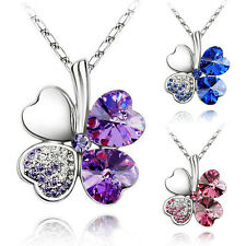 Lucky Women's Four Leaf Clover Crystal Heart Pendant Silver Chain Necklace