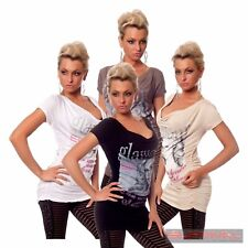 Womens Sexy Casual Top Size 8-10 Hot Club Wear Party Short Sleeve Ladies Shirt