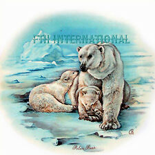 A44 ~ Polar Bear & Cubs Ceramic Decals, Arctic Snow, Baby 2 sizes to choose from