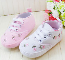 Baby Girl Newborns Lace Up Floral Walk Shoes Infant Soft Bottom Walking Shoes
