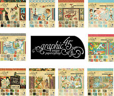 "Graphic 45  8""x8"" Papers SAMPLE / TASTER PACKS from your choice of Scrapbook Pad"