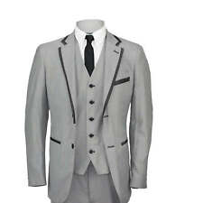 Mens Slim Fit Grey 3 Piece Suit Blazer Waistcoat Trouser Wedding Prom