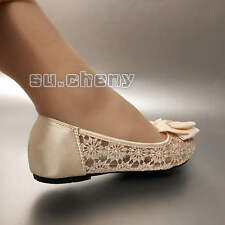 Ivory open toe silk satin lace bow flat ballet Wedding shoes Bridal pump size