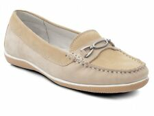 Padders BRIGHTON Womens Ladies Nubuck Wide Moccasin Loafers Shoes Honey/Beige