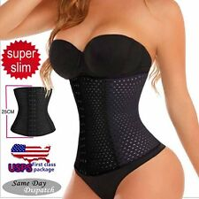 4 x Spiral Steel Boned Black Waist Training Cincher Underbust Corset Body Shaper