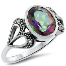 HEART RING HYDRO MYSTIC QUARTZ SEED PEARL ANTIQUE DESIGN 925 SILVER ,       #300