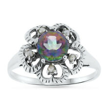 HYDRO MYSTIC QUARTZ PEARL ANTIQUE VICTORIAN STYLE .925 STERLING SILVER RING, #49