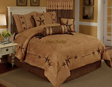 Embroidery Printed Texas Star Western Star Luxury Comforter Suede - 7 Pieces Set