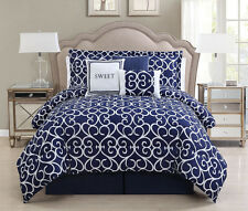 7 Piece Sweet Navy/White Comforter Set