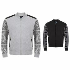 Mens Bandana Paisley Print Sleeve Bomber Quilted Patch Jacket Top S-XL