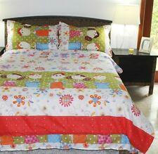 Kids Bedding Friends Comforter Set 100% Polyester Flowers and Polka Dots
