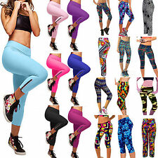 Women Yoga Sport Pants Stretch Leggings Fitness Compression Cropped Gym Trousers