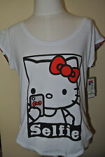 HELLO KITTY  Women's JR  Shirt T-shirt Tee Top XS S M L  White Bows