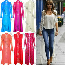 Womens Ladies Lace Crochet Open Front Long Sleeves Full Length Maxi Cardigan Top
