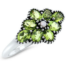 GENUINE PERIDOT PEARL ANTIQUE VICTORIAN STYLE .925 STERLING SILVER RING,    #419
