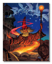Wizard at Night with Pegasus Fire Staff Fantasy Wall