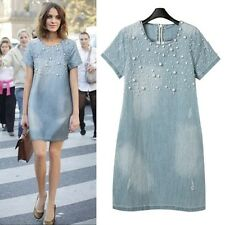 Women Dresses Sexy Jean Loose Short-Sleeve Plus Size S - 5XL Beaded Denim Dress