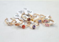 5pcs/Wholesale hybrid many  zircon plating rose gold women's ring Mixed Sizes