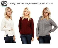 LADIES PLUS SIZE 10-16 CABLE KNIT JUMPER CHUNKY SWEATER WOMEN TOP WARM BLOUSE