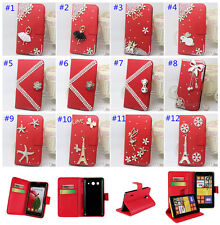 3D Bling Crystal Diamonds leather wallet flip Case Cover Skin for Samsung Galaxy