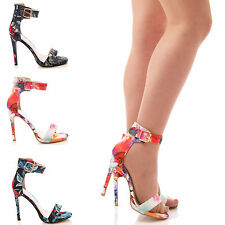 LADIES WOMENS FLORAL SANDALS PEEPT TOE STILETTO PARTY FORMAL SUMMER SHOES SIZE