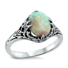 WHITE LAB OPAL ANTIQUE FILIGREE DESIGN .925 STERLING SILVER RING,           #486
