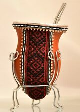 Yerba Mate Cup / porongo gourd with leather wrap & bombilla. Free Yerba Mate!