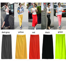 Chic Womens Long Maxi Skirt Modal Cotton High Waist Stretchy Lengthy Dress