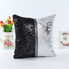 Black and White Decor Shining Sequins Leather Throw Pillow Case Cushion Cover