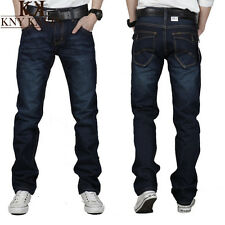 Men's Classic Denim Pants Stylish Designed Straight Slim Fit Blue Casual Jeans