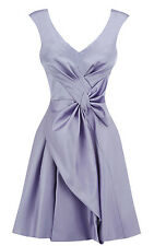 Karen Millen Signature Cute Bow Deep V Sleeveless Mini Party Lilac Dress 6 34