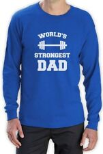 Fathers Day Gift Idea Worlds Strongest Dad Gym Bodybuilder Long Sleeve T-Shirt