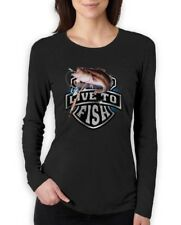 Bass Fishing Top Live To Fish Rod Reel Graphic Women Long Sleeve T-Shirt Small /