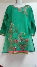 Women's Kurta Tunic Trendy & Comfortable Indian Embroidered Green Top Many Sizes