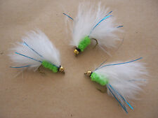Goldhead Cats Whisker Lime + blue flashTrout Lures sizes 10 - 18 by Salmoflies