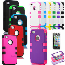 Hybrid Rugged Rubber Armor Impact Defender Skin Hard Case Cover For iPhone 4G 4S