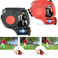 Dog Traction Rope Automatic Retractable Leash 5M 3 LED Lights With Garbage Bags