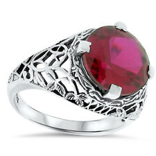 5 CARAT LAB RUBY ANTIQUE ART DECO STYLE .925 STERLING SILVER FILIGREE RING,  #76