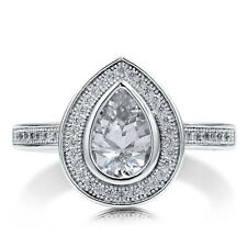 BERRICLE Sterling Silver 1.67 Carat Pear Cut CZ Halo Engagement Ring