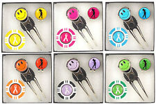 Lady Golfers Pitch Repairer, HatClip, Magnetic Poker Chip Ball Marker Gift Set