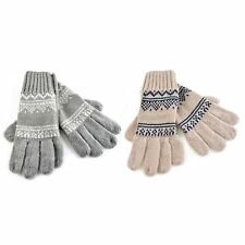 Womens/Ladies Knitted Fairisle Design Winter Gloves 2 Colours 1 Size