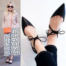 Celebrity Womens Pointed Toe Ankle Strap Lace Up Flats OL Ladies British Shoes