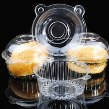 100/200pcs Individual Clear Plastic Single Cup Cake Muffin Case Pods Domes Boxes