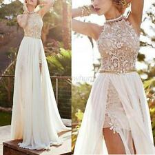 Women Lace Long Chiffon Bridesmaid Evening Formal Party Cocktail Dress Gown Prom