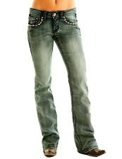 Cowgirl Tuff Western Jeans Womens Rocker Extreme Medium Wash JROEXT