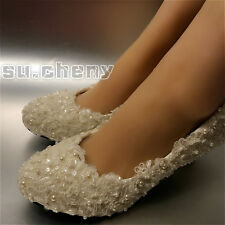 Flats/4cm/7cm heel Ivory / white pearl lace Wedding shoes Bridal pumps size 5-10