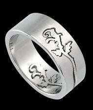 Flower or Rose 2 pc Puzzle Stainless Steel Ring fnt